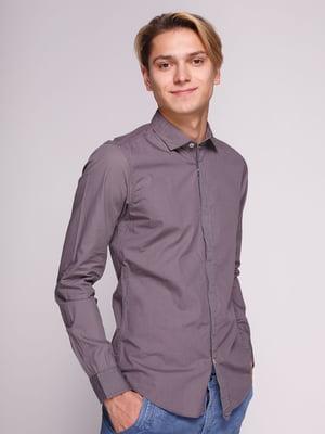 Рубашка фиолетовая в принт | 3009552