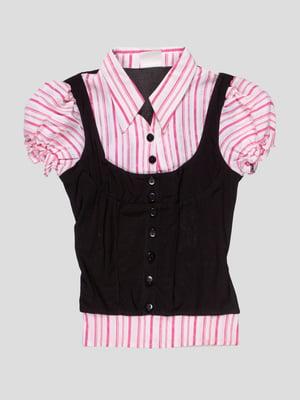 Блуза чорно-рожева в смужку | 4715348