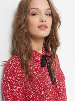 Рубашка красная в цветочный принт | 4677775