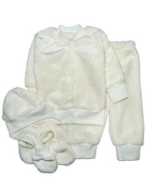 Комплект: кофта, штани, шапка, пінетки і царапки | 4762773