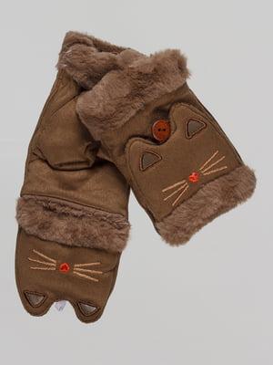 Митенки коричневые с вышивкой | 4678785