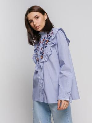 Блуза в полоску с вышивкой | 4767882