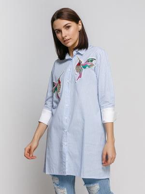 Сорочка в смужку з аплікацією | 4767881