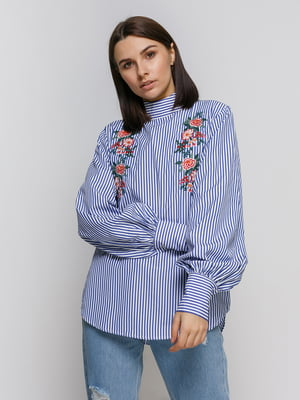 Блуза в смужку з вишивкою | 4767880