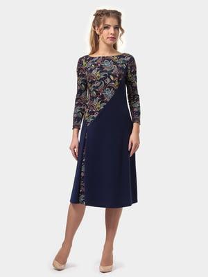 Платье синее с принтом | 4775688