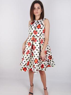 Платье в горошек с цветочным принтом | 4576761