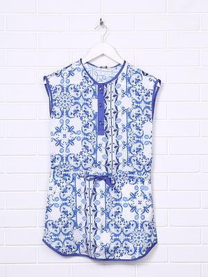 Платье белое в синий принт | 4781188