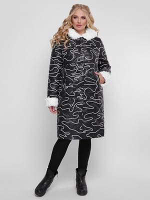 Пальто чорне в принт | 4781710