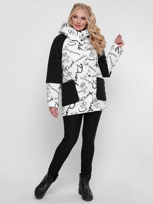 Куртка бело-черная в принт | 4781713