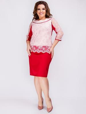 Платье бордово-белое | 4712550