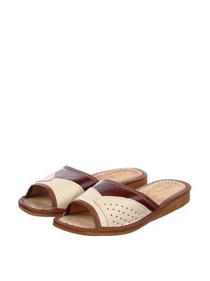 Тапочки бежево-коричневые | 4599448