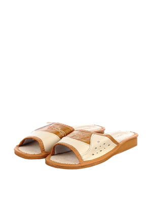 Тапочки бежево-коричневые | 4692034