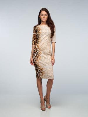 Сукня бежева з леопардовим принтом   4785340