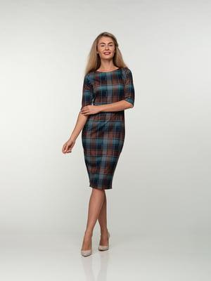 Платье коричнево-голубое в клетку | 4785381