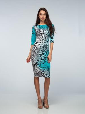 Платье бирюзовое с леопардовым принтом | 4785422