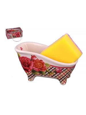 Подставка под кухонные принадлежности «Классические розы» с губкой | 4493100