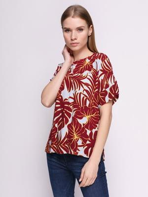 Блуза бело-бордовая в принт | 4775884