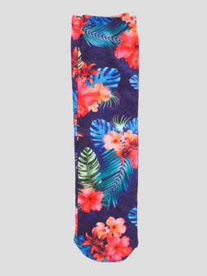 Носки синие с цветочным рисунком | 4686324