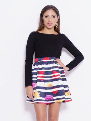 Платье с комбинированным принтом | 4793097