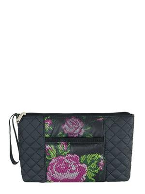 Косметичка чорна з квітковим принтом | 4793166