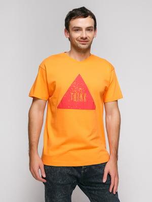 Футболка оранжевая с принтом | 4713623