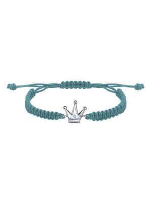 Браслет плетеный с серебряным украшением «Корона малая»   4795006