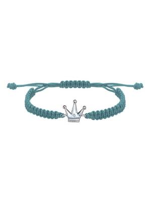 Браслет плетеный с серебряным украшением «Корона большая»   4795007