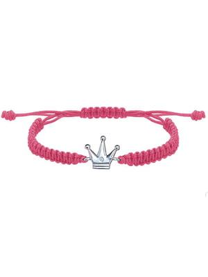 Браслет плетеный с серебряным украшением «Корона малая»   4795008