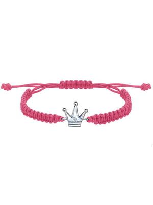 Браслет плетеный с серебряным украшением «Корона большая»   4795009