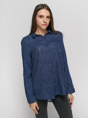 Рубашка синяя в полоску | 4777623