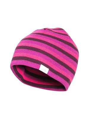 Шапка рожева в смужку | 4808516