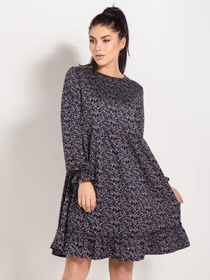 Сукня чорна в квітковий принт | 4809231