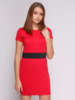Платье красное с отделкой по талии | 475069