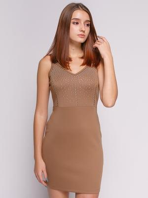 Платье бежевое с декором | 1215253