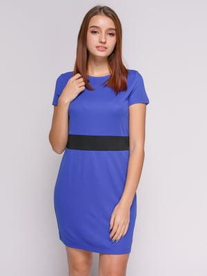Платье ярко-синее с отделкой по талии | 475067