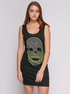 Платье черное с декорированным рисунком | 1215251