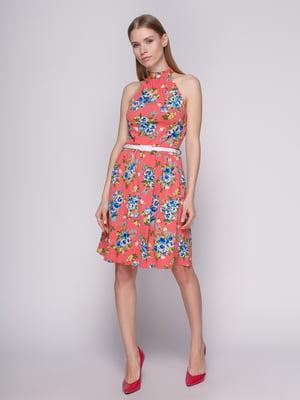 Платье коралловое в цветочный принт с ремешком | 402707