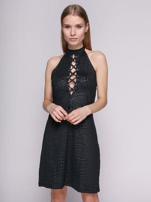Сукня чорна з шнуруванням | 434159