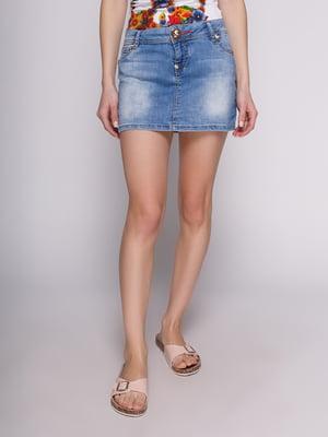 Спідниця блакитна джинсова з ефектом потертої | 2900554