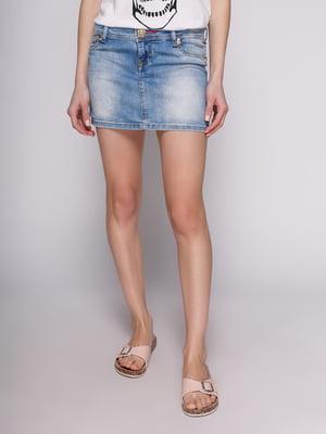 Спідниця блакитна джинсова з ефектом потертої | 2900553