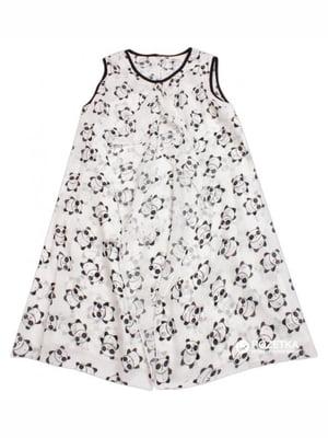 Платье белое в принт | 4781533