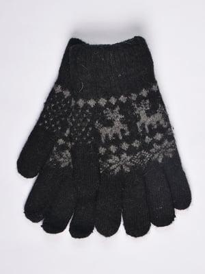 Рукавички чорні з орнаментом | 4811613