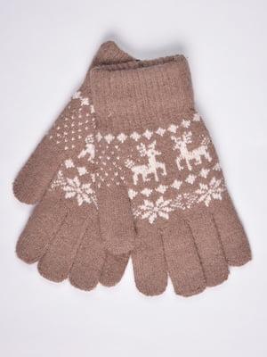 Перчатки бежевые с орнаментом   4811617