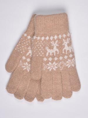 Перчатки бежевые с орнаментом | 4811618