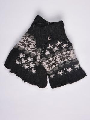Перчатки-трансформер черные с орнаментом | 4811621