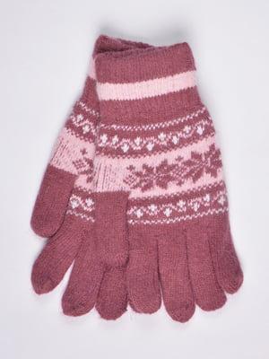 Перчатки розовые с орнаментом | 4811638