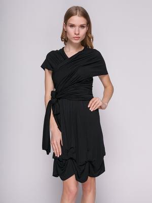 Сукня чорна з драпіруванням | 434146
