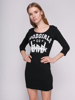 Платье черное с принтом | 1215107