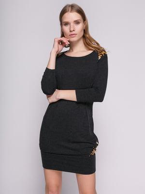 Платье черное со складками и вставками анималистической расцветки | 330792