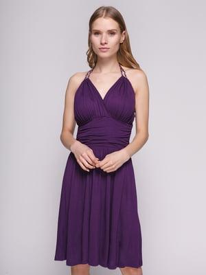 Сукня фіолетова із складками і бретелею-петлею | 434156
